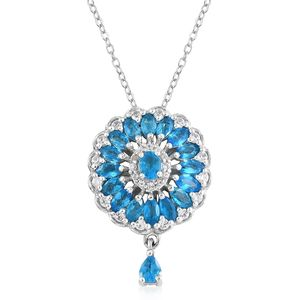 Malgache Neon Apatite, Cambodian Zircon Platinum Over Sterling Silver Pendant With Chain (20 in) TGW 1.95 cts.