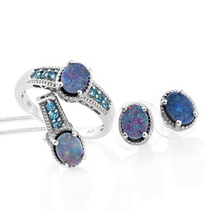 Customer Appreciation Day Australian Boulder Opal, Malgache Neon Apatite Platinum Over Sterling Silver Earrings, Ring (Size 11) and Pendant With Chain (20 in) TGW 3.79 cts.