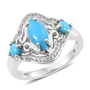Arizona Sleeping Beauty Turquoise, Cambodian Zircon Platinum Over Sterling Silver Ring (Size 7.0) TGW 2.46 cts.