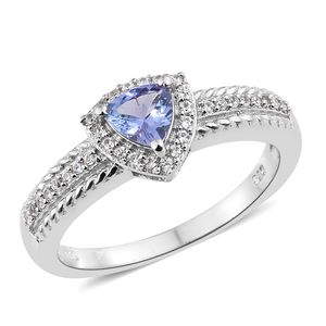 Tanzanite, Cambodian Zircon Platinum Over Sterling Silver Ring (Size 7.0) TGW 0.91 cts.