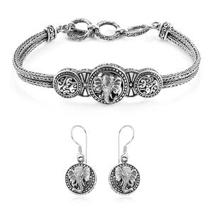 TLV Bali Legacy Collection Sterling Silver Elephant Tulang-naga Bracelet (7.50 In) and Earrings