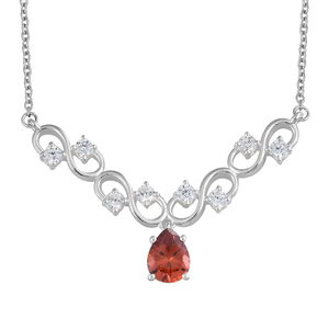 Simulated Garnet Diamond, Simulated Diamond Sterling Silver Necklace (18 in) TGW 4.22 cts.