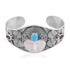 Bali Goddess Collection Carved Bone, Multi Gemstone Sterling Silver Cuff (7.50 in) TGW 4.99 cts.