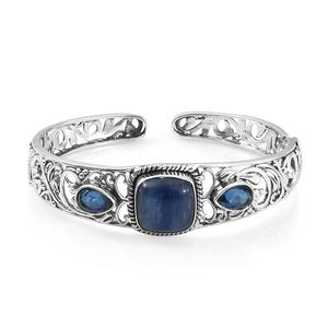 TLV Himalayan Kyanite, Ceylon Blue Sapphire Quartz Sterling Silver Cuff (7.25 in) TGW 14.56 cts.