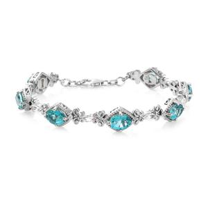 Paraiba Topaz, White Topaz Platinum Over Sterling Silver Bracelet (7.50 In) TGW 11.00 cts.