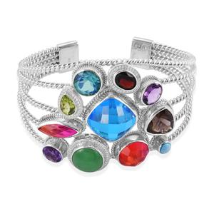 Bali Legacy Collection Caribbean Quartz, Multi Gemstone Sterling Silver Cuff (7.50 in) TGW 49.09 cts.