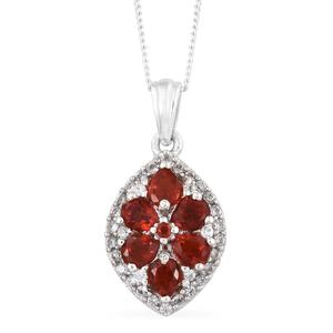 Crimson Fire Opal, Cambodian Zircon Platinum Over Sterling Silver Pendant With Chain (20 in) TGW 1.02 cts.