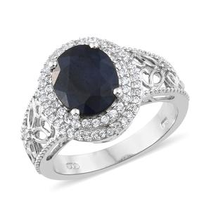 Madagascar Blue Sapphire, Cambodian Zircon Platinum Over Sterling Silver Ring (Size 7.0) TGW 5.13 cts.