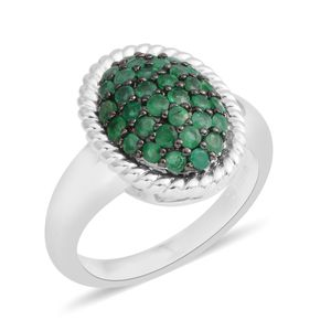 Brazilian Emerald Sterling Silver Cluster Ring (Size 6.0) TGW 0.75 cts.