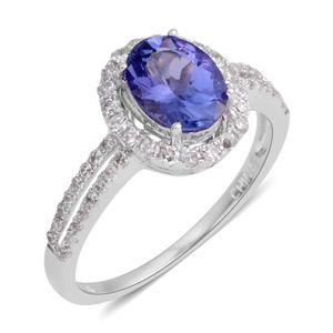 14K WG Blue Tanzanite, Diamond Ring (Size 7.0) TDiaWt 0.33 cts, TGW 1.33 cts.