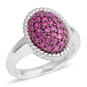 Ruby Sterling Silver Cluster Ring (Size 7.0) TGW 0.75 cts.