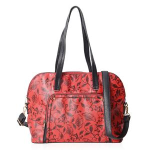 Red Faux Leather Flower Pattern Tote Bag with Removable Shoulder Strap (15x5x11 in)