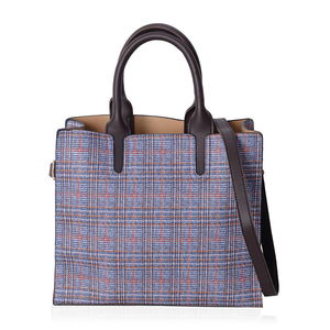 Blue Faux Leather Houndstooth and Plaid Mix Pattern Tote Bag with Handle Drop and Shoulder Strap (12.4x4.4x11 in)