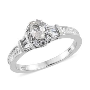 Natural White Zircon Platinum Over Sterling Silver Ring (Size 5.0) TGW 1.41 cts.