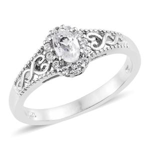 Natural White Zircon Platinum Over Sterling Silver Ring (Size 7.0) TGW 0.99 cts.