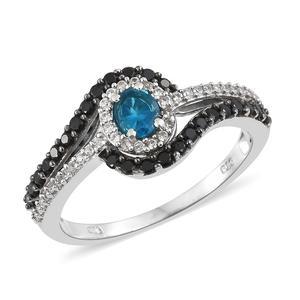 Malgache Neon Apatite, Multi Gemstone Platinum Over Sterling Silver Ring (Size 6.0) TGW 1.17 cts.