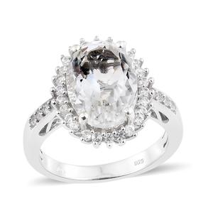 Petalite, Cambodian Zircon Platinum Over Sterling Silver Ring (Size 7.0) TGW 5.80 cts.