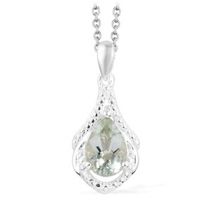 Green Amethyst Sterling Silver Drop Pendant With Stainless Steel Chain (20 in) TGW 1.75 cts.