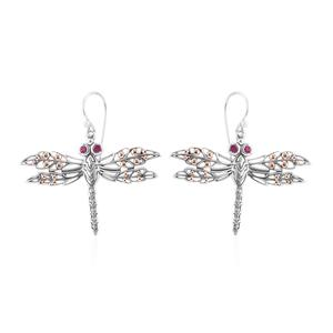 Bali Legacy Collection 18K YG Burmese Ruby Sterling Silver Dragonfly Earrings TGW 0.38 cts.
