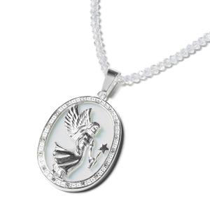 Opalite, Simulated Diamond, Austrian Crystal Stainless Steel Angel Pendant With Necklace (20 in) TGW 35.20 cts.