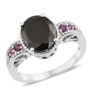 Shungite, Orissa Rhodolite Garnet Platinum Over Sterling Silver Royal Ring (Size 9.0) TGW 3.20 cts.