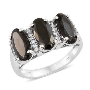 Shungite, Cambodian Zircon Platinum Over Sterling Silver Ring (Size 7.0) TGW 4.14 cts.