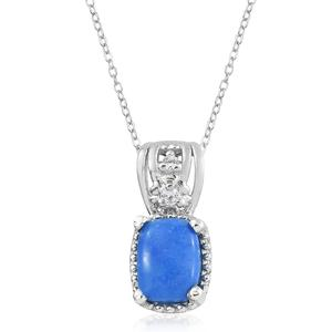 Ceruleite, Cambodian Zircon Platinum Over Sterling Silver Pendant With Chain (20 in) TGW 1.30 cts.