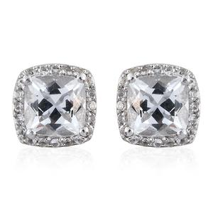 White Topaz Platinum Over Sterling Silver Earrings TGW 2.66 cts.