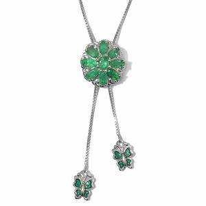 Brazilian Emerald Platinum Over Sterling Silver Necklace (20 in Adjustable) TGW 2.30 cts.