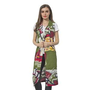 Green 100% Polyester Art Pattern Summer Vest (42x18 in)