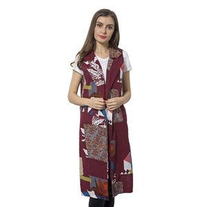 Wine Red 100% Polyester Art Pattern Summer Vest (42x18 in)