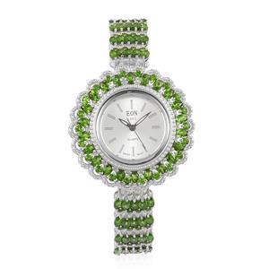 EON 1962 Russian Diopside Swiss Movement Water Resistant Sterling Silver Bangle Watch (8 in) TGW 21.25 cts.