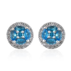 Malgache Neon Apatite, Cambodian Zircon Platinum Over Sterling Silver Stud Earrings TGW 1.00 cts.