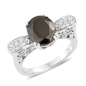 Shungite, Cambodian Zircon Platinum Over Sterling Silver Royal Ring (Size 7.0) TGW 3.30 cts.