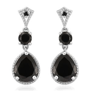 Shungite, Thai Black Spinel Platinum Over Sterling Silver Earrings TGW 4.65 cts.