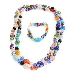 Multi Color Glass, Murano Glass Bracelet (6.50 in), With Necklace (48 in) TGW 582.000 Cts. TGW 582.00 Cts.