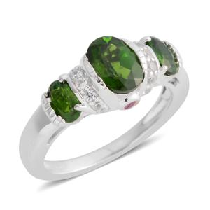 Russian Diopside, Multi Gemstone Sterling Silver Ring (Size 6.0) TGW 1.65 cts.