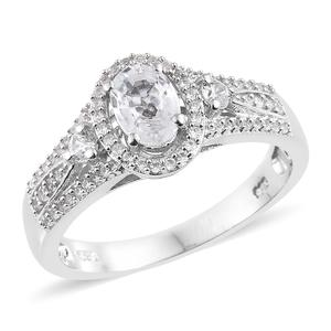 Natural White Zircon Platinum Over Sterling Silver Ring (Size 7.0) TGW 1.80 cts.