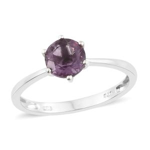Purple Fluorite Platinum Over Sterling Silver Solitaire Ring (Size 7.0) TGW 1.65 cts.