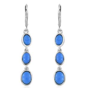 Ceruleite Platinum Over Sterling Silver Earrings TGW 2.82 cts.