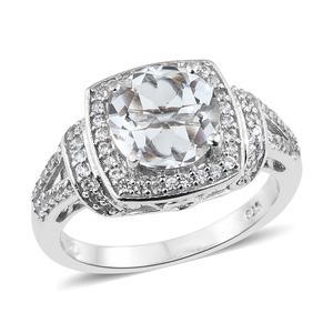 Petalite, Cambodian Zircon Platinum Over Sterling Silver Ring (Size 8.0) TGW 3.16 cts.