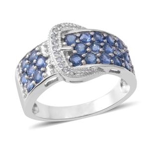 Kanchanaburi Blue Sapphire, Cambodian White Zircon Sterling Silver Buckle Ring (Size 7.0) TGW 2.08 cts.