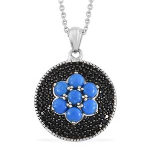 Ceruleite, Thai Black Spinel Black Rhodium & Platinum Over Sterling Silver Pendant With Chain (20 in) TGW 3.09 cts.