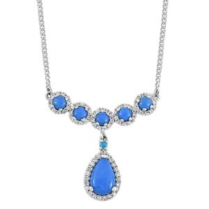 Ceruleite, Multi Gemstone Platinum Over Sterling Silver Bar Drop Necklace (18 in) TGW 4.44 cts.