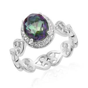 KARIS Collection - Mystic Green Quartz Platinum Bond Brass Heart Band Ring (Size 7.0) TGW 2.35 cts.