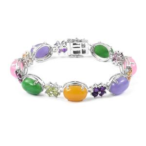 Burmese Multi Color Jade, Multi Gemstone Sterling Silver Bracelet (6.75 In) TGW 51.54 cts.