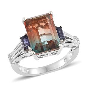 Aqua Terra Costa Quartz, Catalina Iolite Platinum Over Sterling Silver Ring (Size 7.0) TGW 9.35 cts.