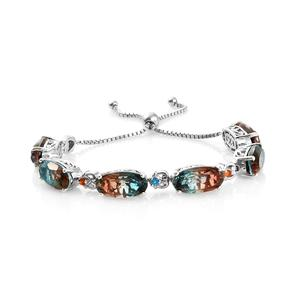 Aqua Terra Costa Quartz, Multi Gemstone Platinum Over Sterling Silver Bolo Bracelet (Adjustable) TGW 33.77 cts.