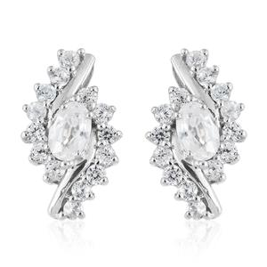 Natural White Zircon Platinum Over Sterling Silver Stud Earrings TGW 2.85 cts.