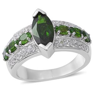Russian Diopside, White Topaz Sterling Silver Ring (Size 9.0) TGW 4.20 cts.